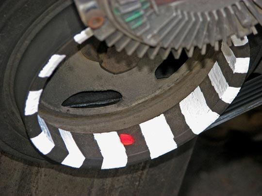 Пример использования внутренней поверхности шкива коленвала в качестве поверхности для нанесения оптического маркерного диска
