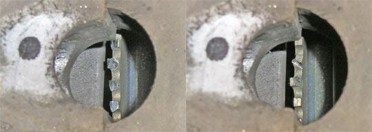 Зубья задающего диска деформированы