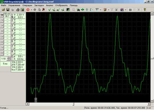 График пульсаций разрежения во впускном коллекторе, полученный при использовании длинного соединительного вакуумного патрубка