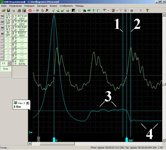 Графики пульсаций разрежения во впускном коллекторе работающего двигателя и давления в одном из цилиндров