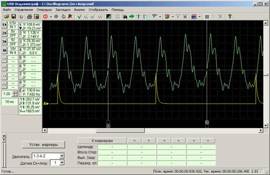 Указание при помощи маркеров ''A'' и ''B'' выбранного для анализа фрагмента графика пульсаций разрежения во впускном коллекторе