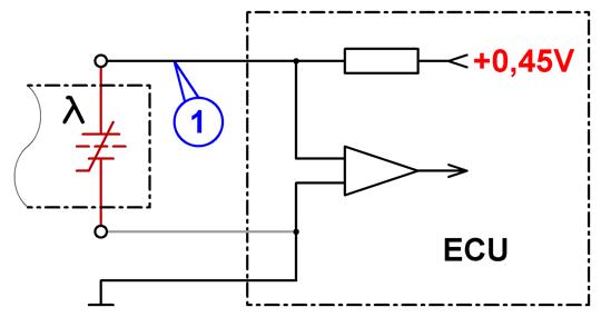 Схема подключения лямбда-зонда BOSCH (на основе оксида циркония).