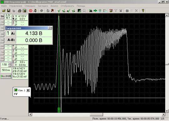 Осциллограмма напряжения выходного сигнала исправного датчика массового расхода воздуха BOSCHHFM5 при резкой перегазовке