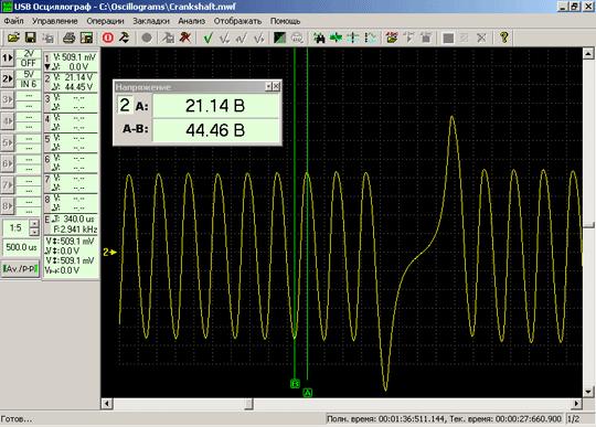 Осциллограмма напряжения выходного сигнала исправного датчика положения коленчатого вала индукционного типа при 1250RPM