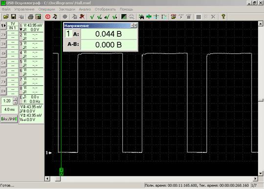 Осциллограмма напряжения выходного сигнала исправного датчика Холла, встроенного в распределитель зажигания 4-х цилиндрового двигателя при 960RPM