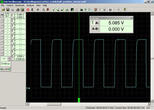 Осциллограмма выходного напряжения активного цифрового датчика частоты вращения коленчатого вала