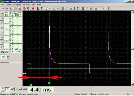Осциллограмма напряжения сигнала управления форсункой