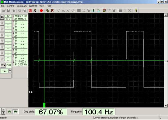 Осциллограмма напряжения сигнала управления клапаном холостого хода