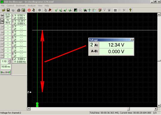 Осциллограмма напряжения автомобильной аккумуляторной батареи