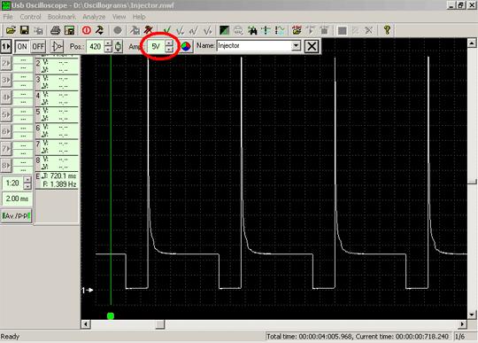Осциллограмма напряжения сигнала управления форсункой при значении усиления 5 Вольт/деление