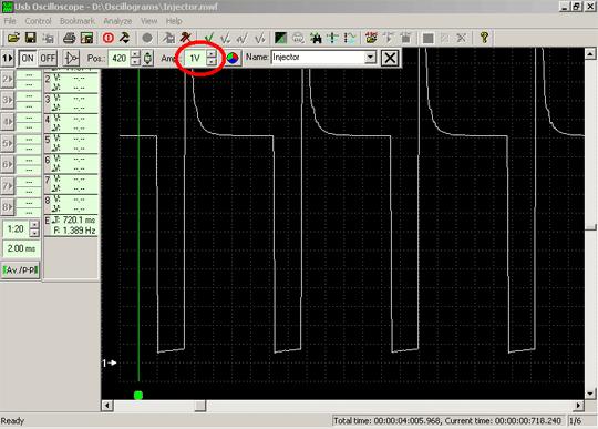 Осциллограмма напряжения сигнала управления форсункой при значении усиления 1 Вольт/деление