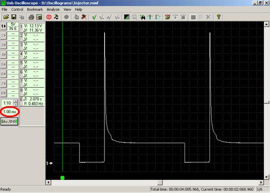 Осциллограмма напряжения сигнала управления форсункой при большем значении развёртки