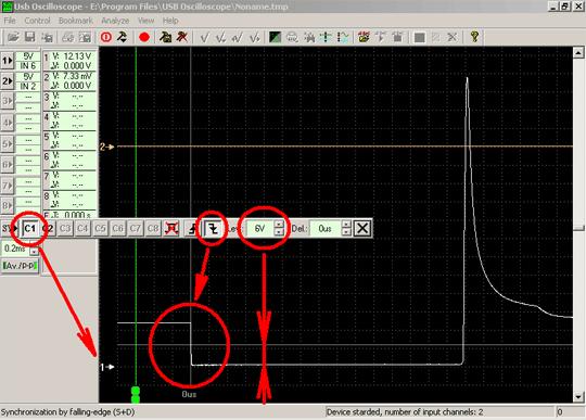 Пример настройки синхронизации. В данном случае синхронизация выбрана по заднему фронту сигнала канала №1 по уровню +6 Вольт