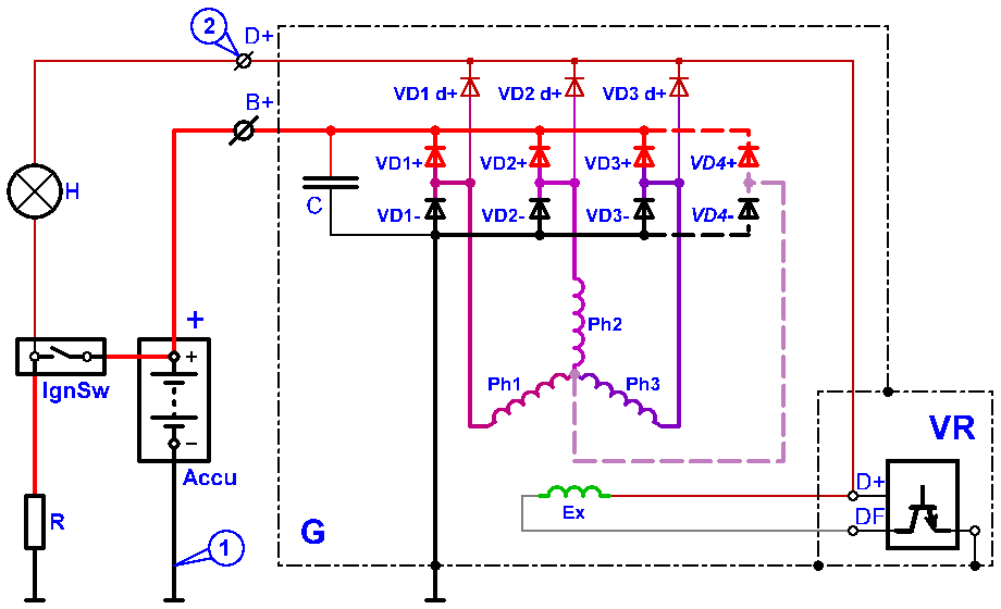 Там пример схемы диодного моста, для трёх - фазного электрооборудование ремонт генератор иж схема устройство.