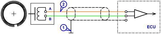 Схема подключения к датчику положения коленчатого вала индукционного типа