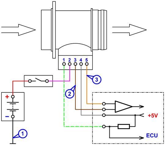 Схема подключения к датчику массового расхода воздуха BOSCHHFM5