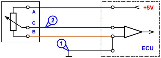 scheme tps gm - Схема подключения датчика положения дроссельной заслонки